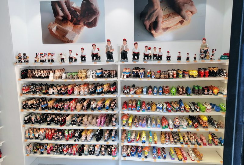 Caganer figurines in Barcelona shop on the Barcelona markets guided tour