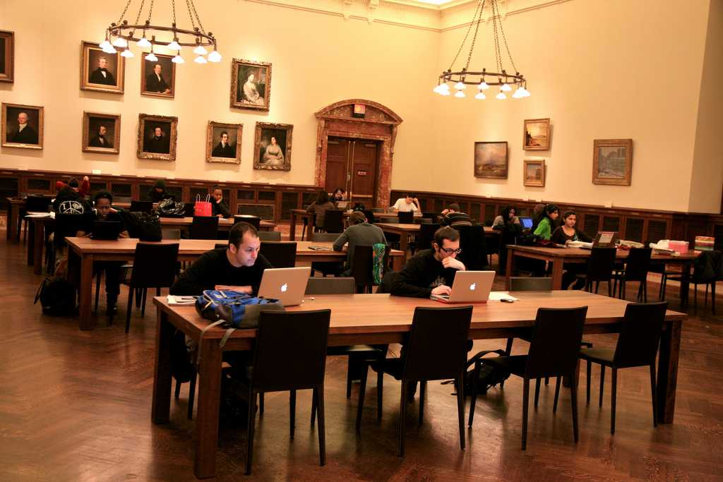 People studying in a room