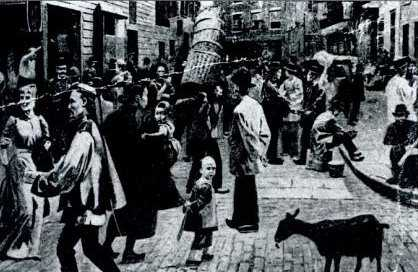 Postcard of unknown authorship, dated 1898, showing a street scene on Doyers Street, New York City.