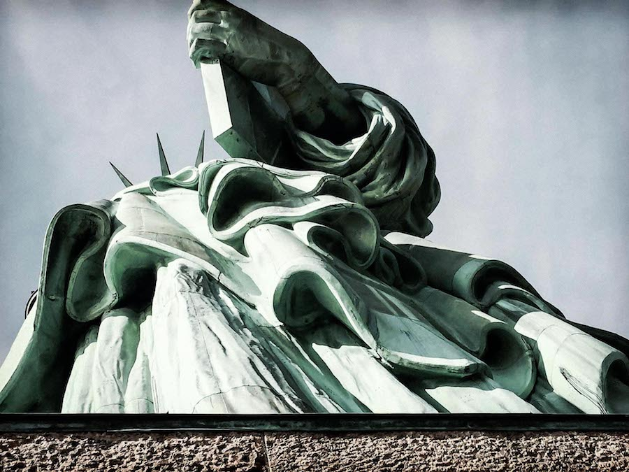 Statue of Liberty as seen looking up from below