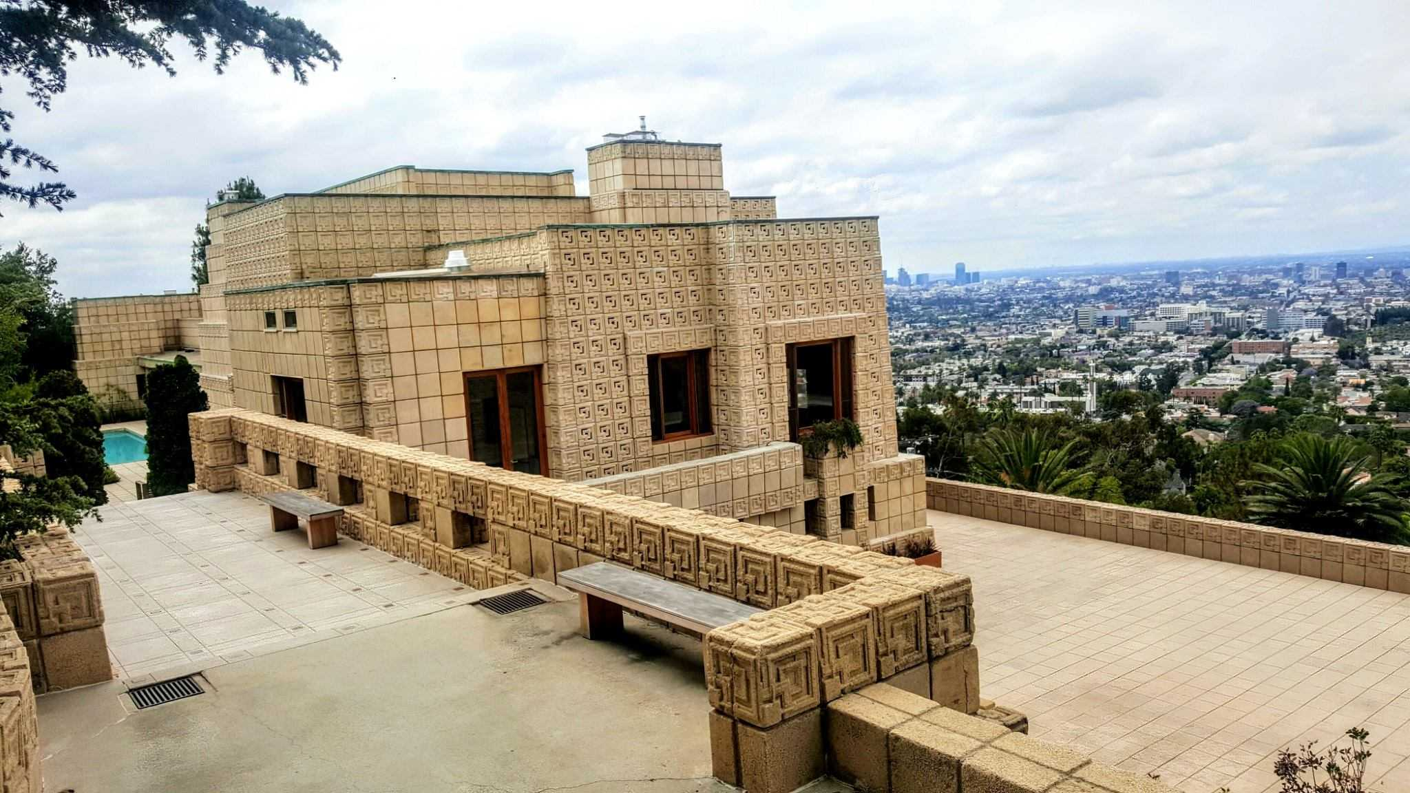 Ennis House deck with view of los angeles