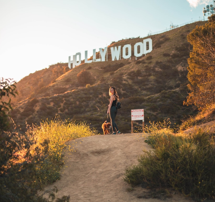 Hiker on a trail to the Hollywood Sign in Los Angeles Griffith Park