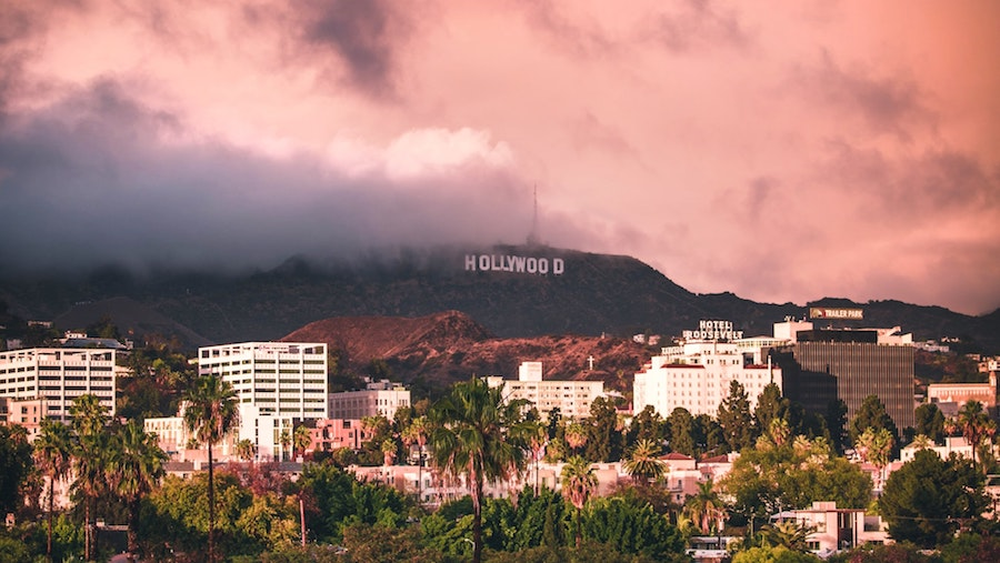 Hollywood Sign in LA with pink sky