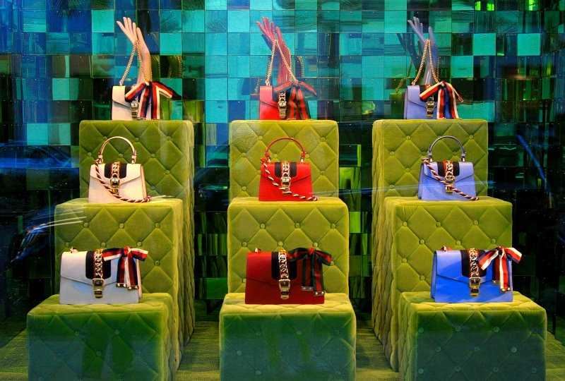 Beverly Hills luxury storefront displaying womens purses.