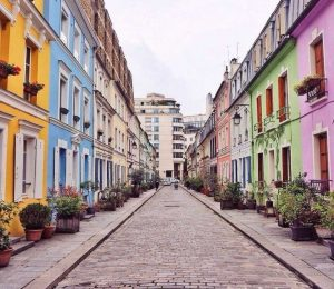 cobblestone street and colorful buildings