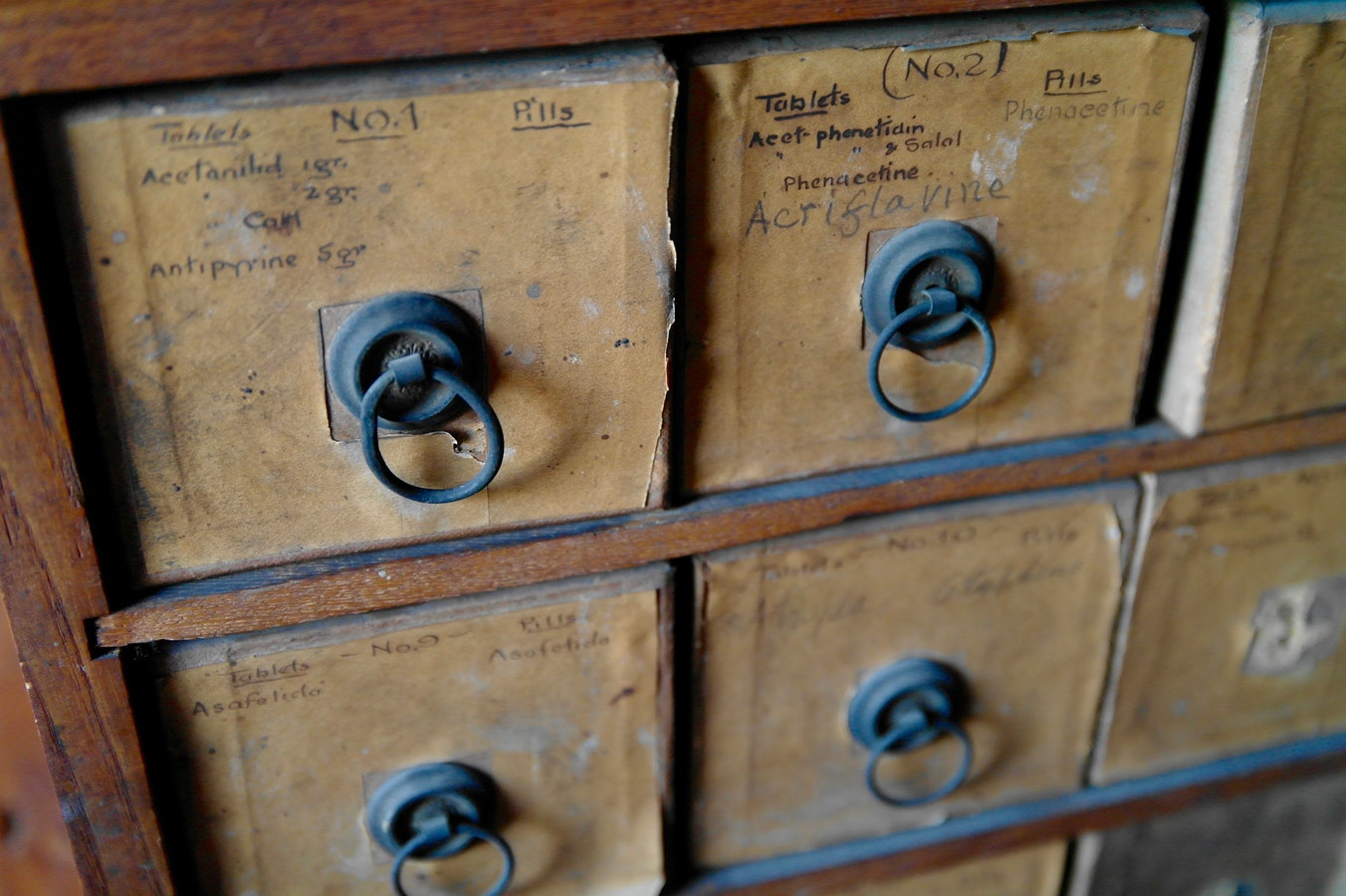 Wooden drawers close shot
