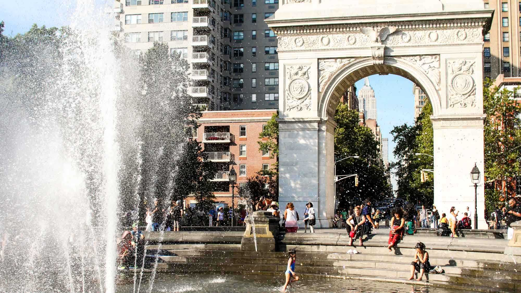 fountain and arch at Washington Square Park in Greenwich Village neighborhood, New York
