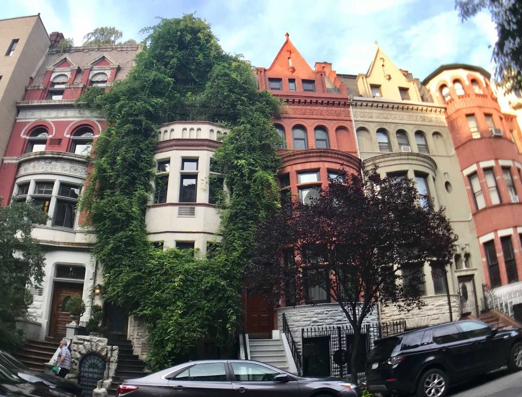 beautiful pretty townhouses rowhouses in upper west side manhattan new york city
