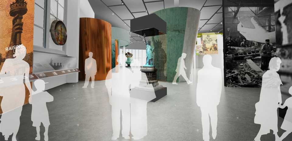 Hologram of people standing inside a museum