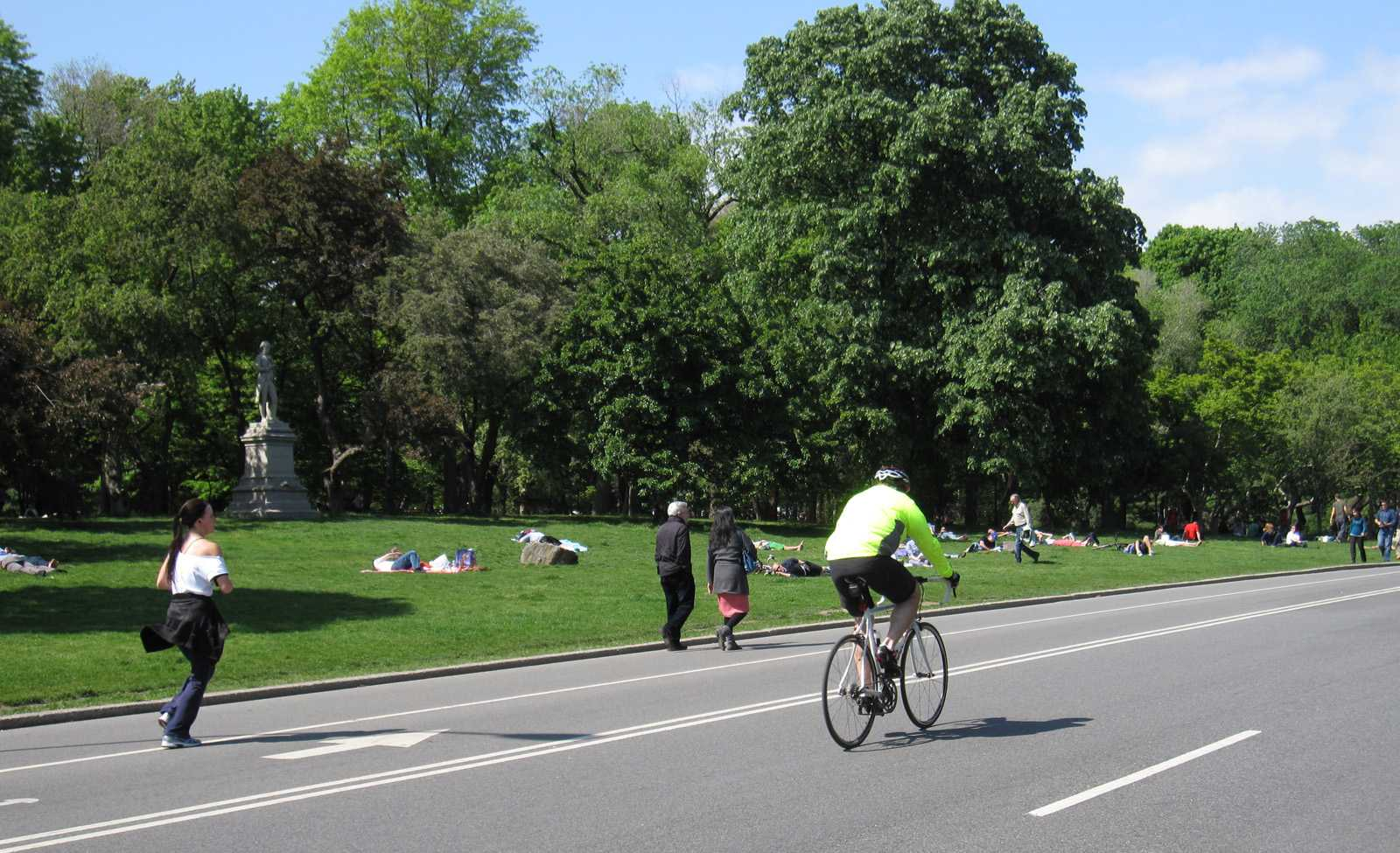 Person riding a bike in a park