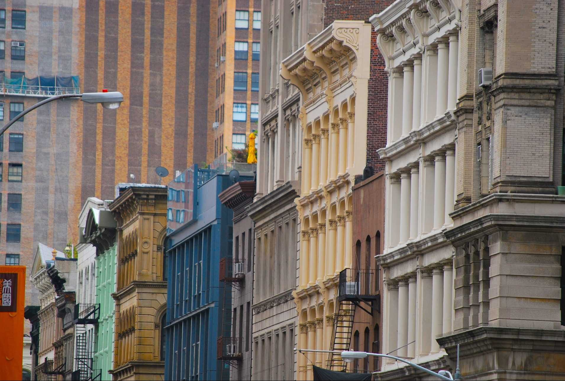 buildings in SoHo New York City with cast-iron architecture