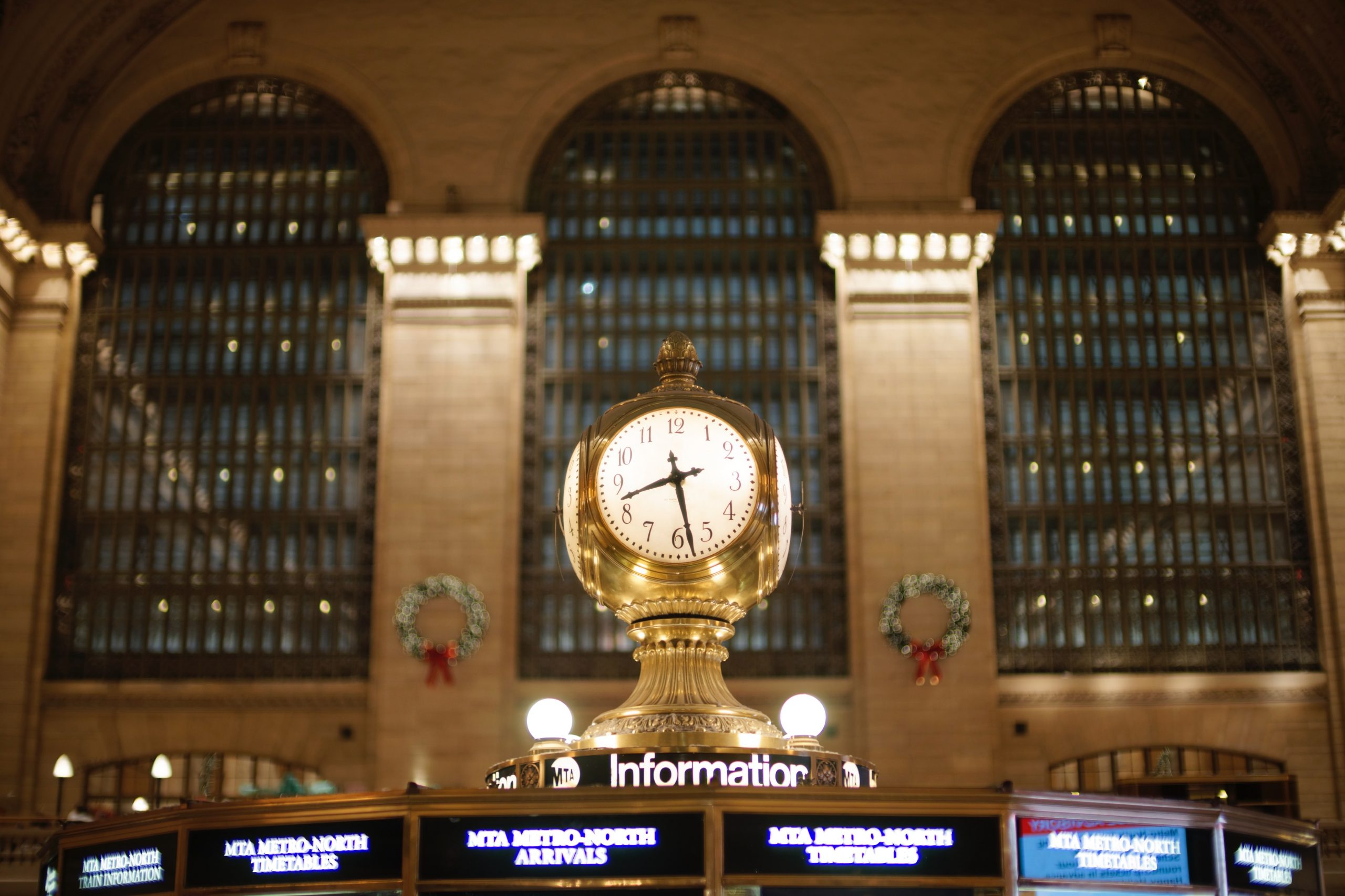 The clock inside the Main Concourse