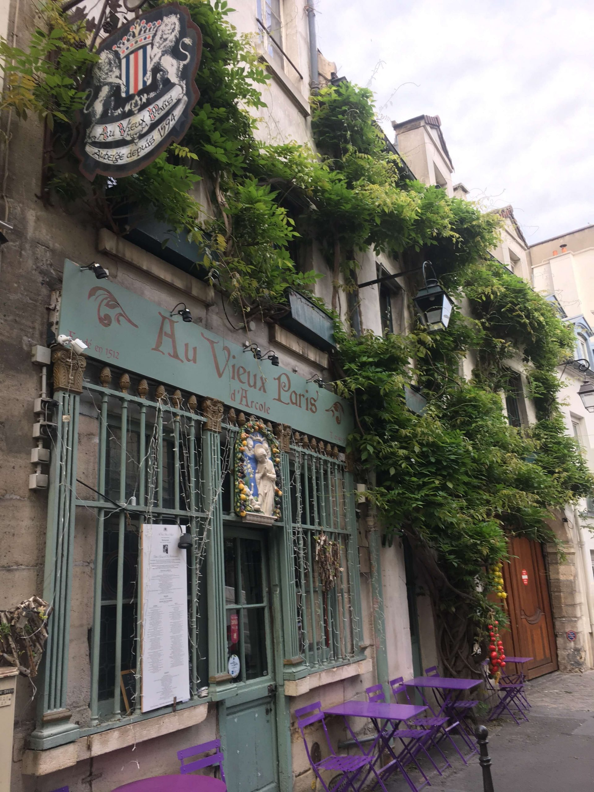 Lots of green plants and vines around a window in Paris