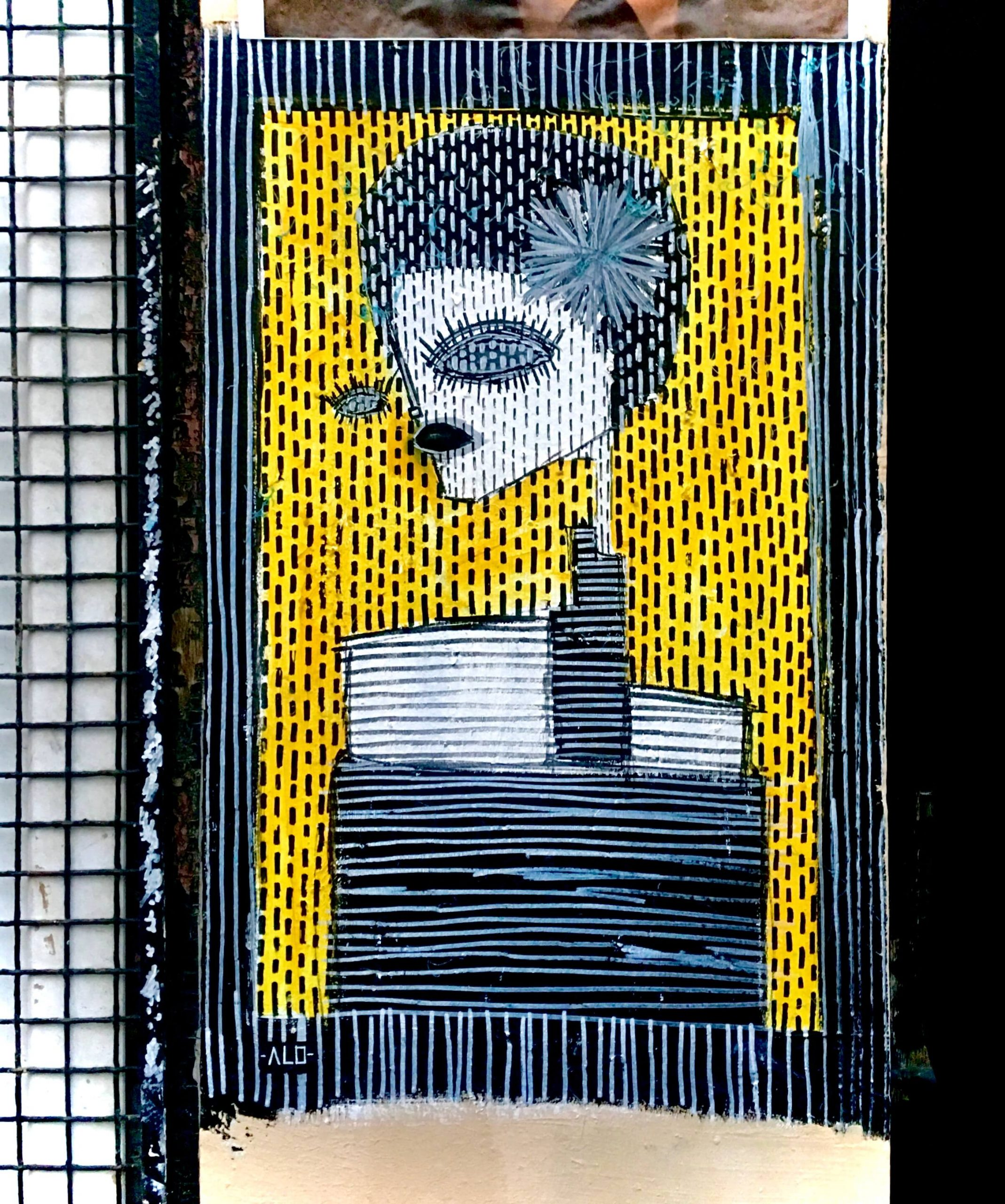 Surreal mosaic street art piece of an exaggerated female character in black and white with yellow background