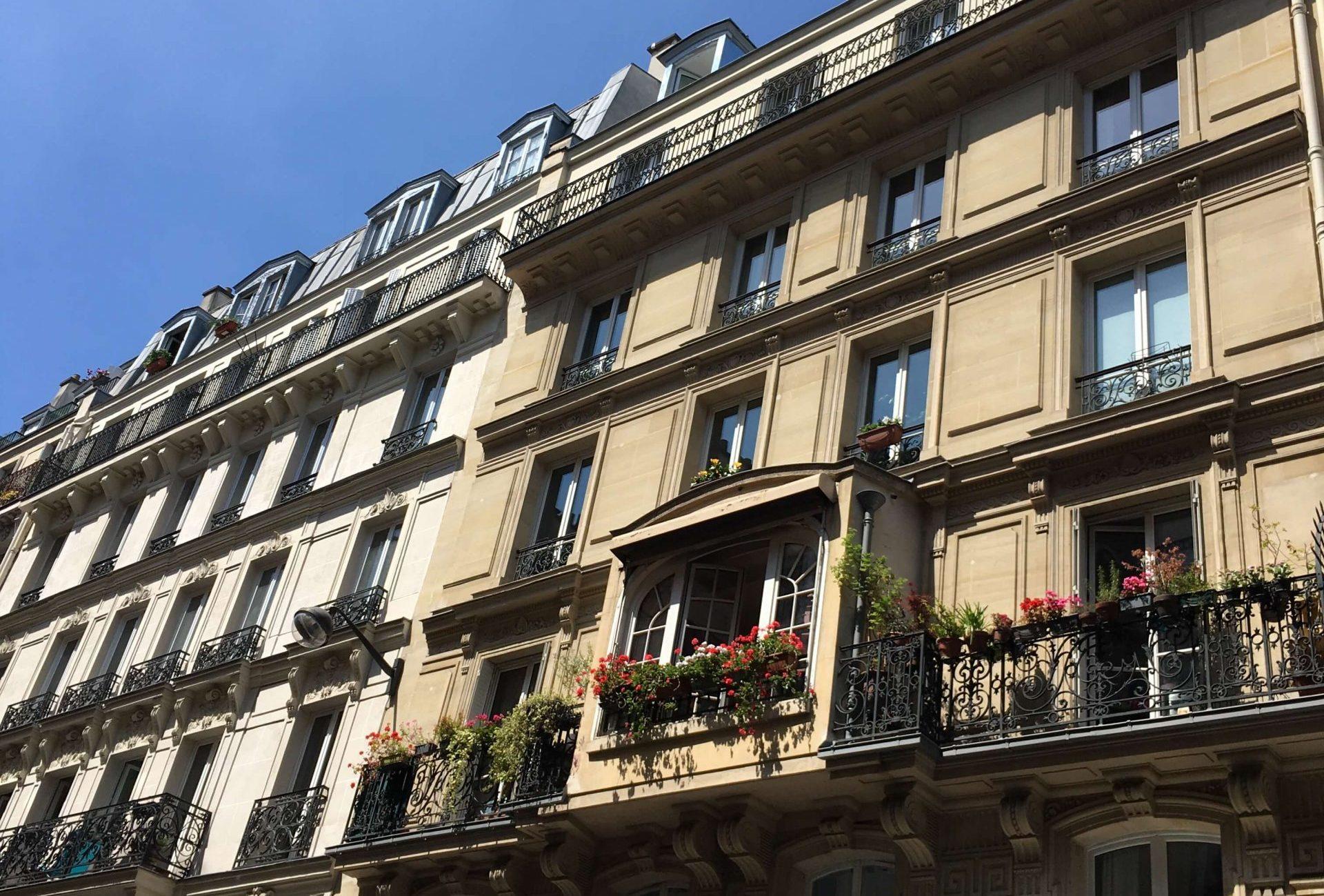 balconies in Paris with flowers