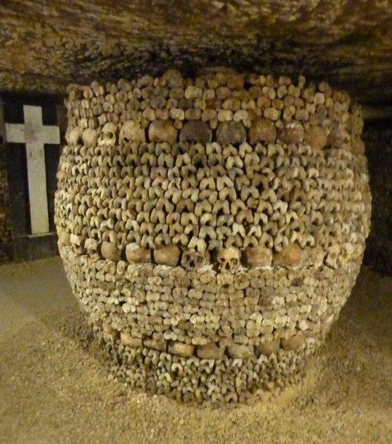 underground crypt in the Paris Catacombs