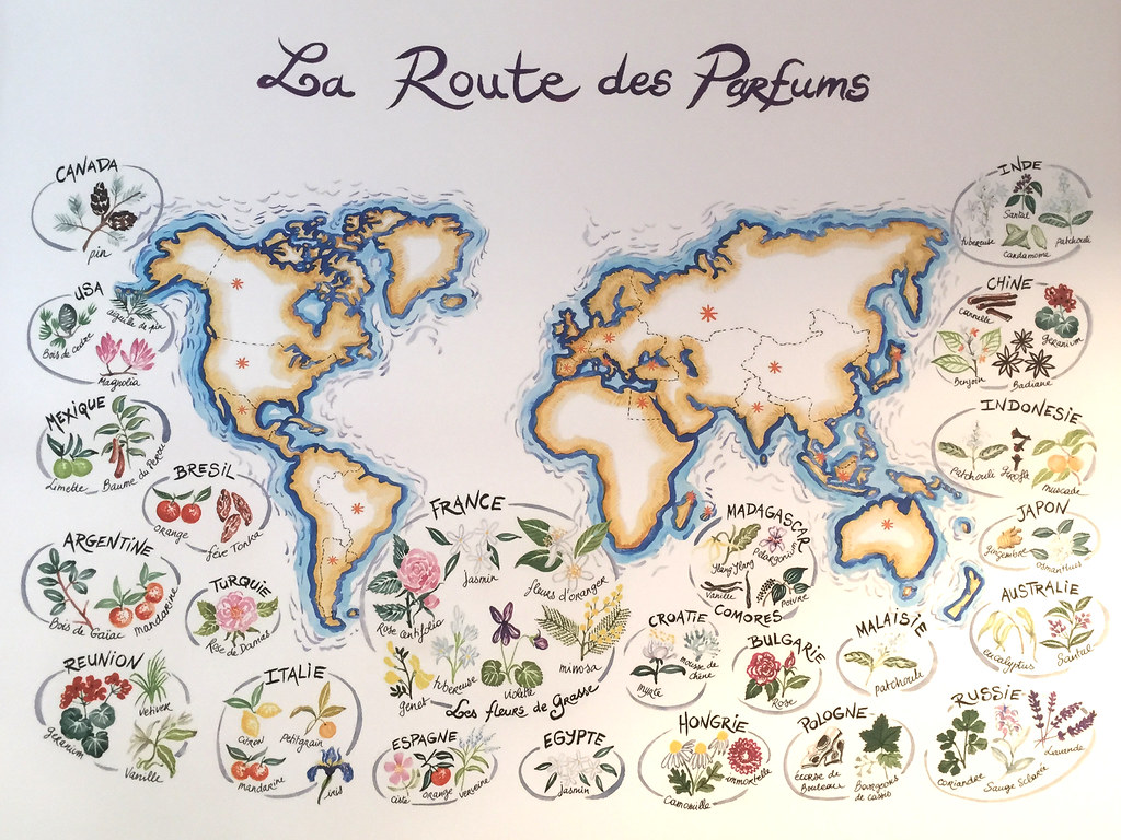 World map with perfume resources