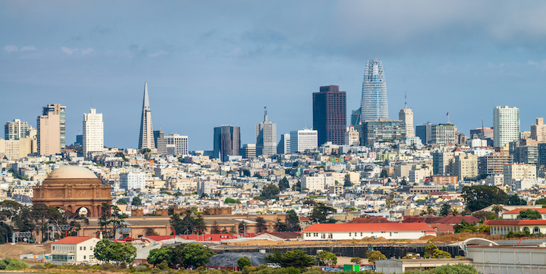 San Francisco skyline with Palace of the Arts in the foreground