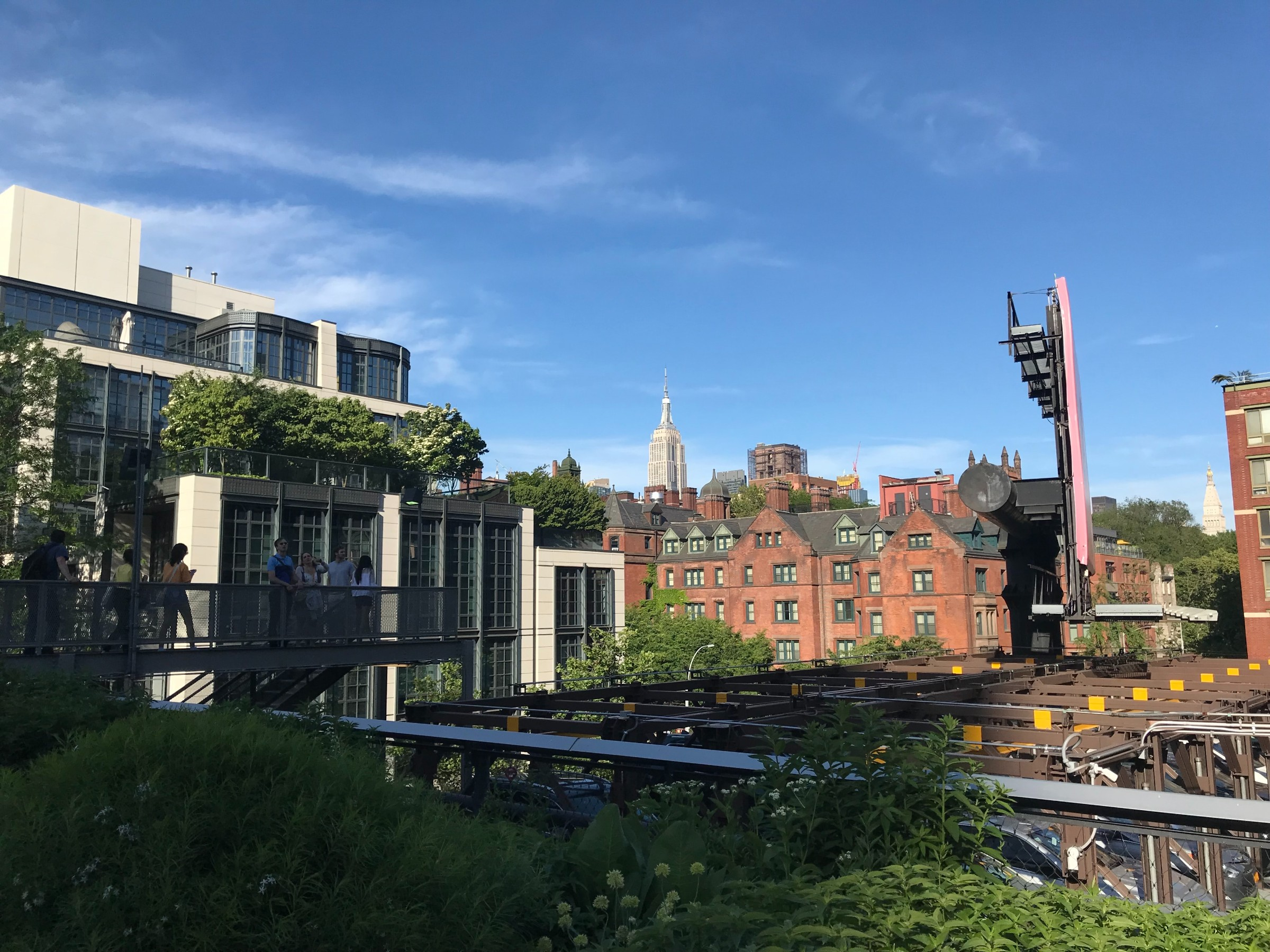 A view down the High Line near Hudson Yards