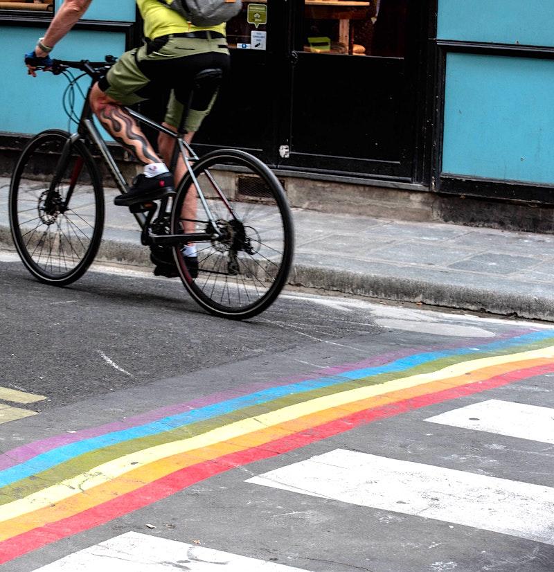 LGBTQ Pride Rainbow on Crosswalks in Marais neighborhood Paris