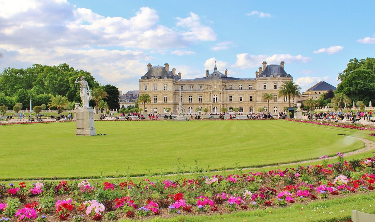 Landscape view of Luxembourg Gardens in Paris