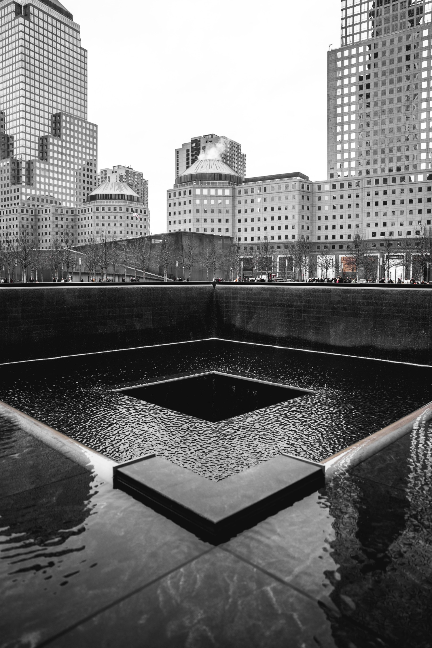 One of the fountains that makes up Reflecting Absence, an art installation at the 9/11 Memorial