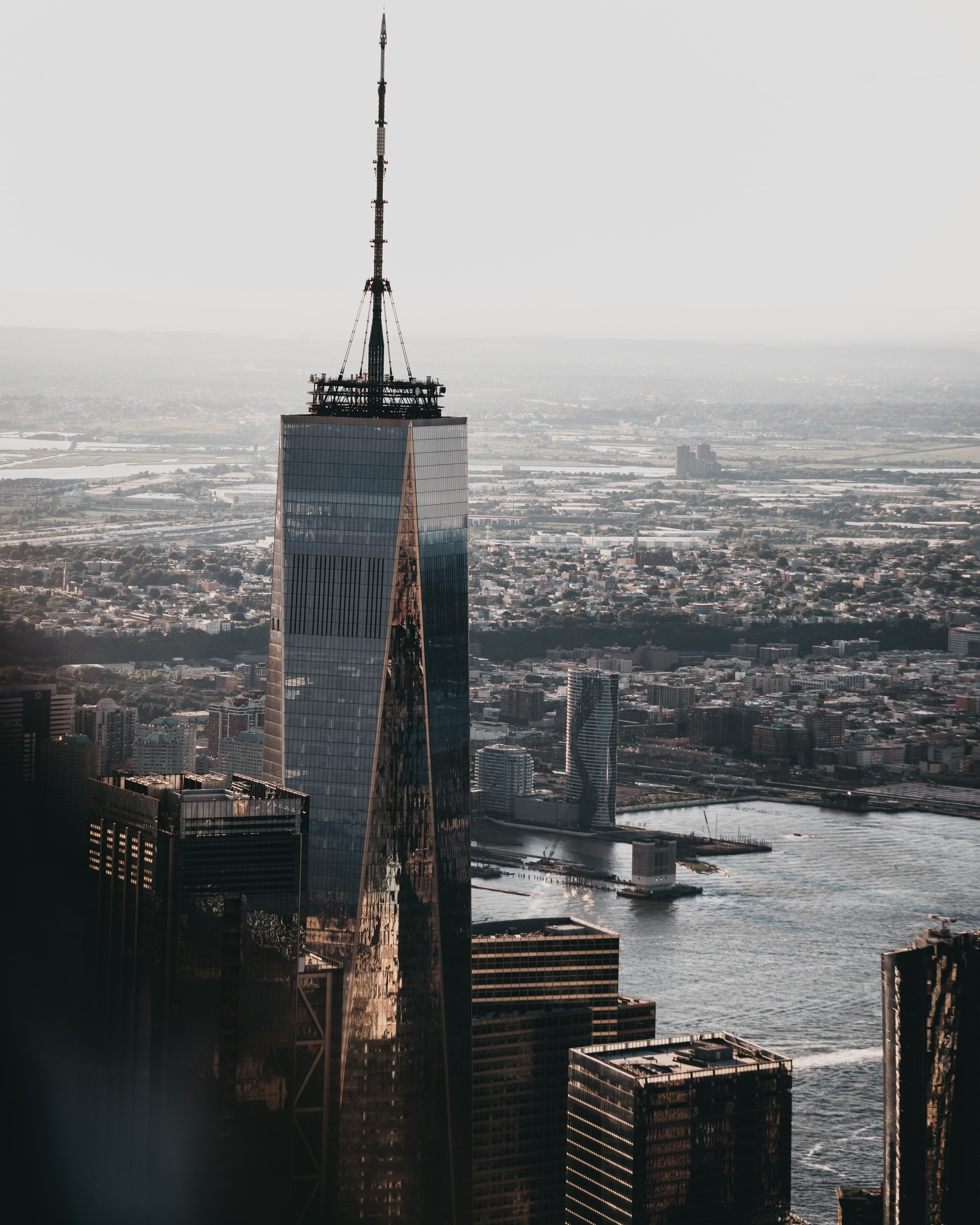 An aerial view of One World Trade in NYC