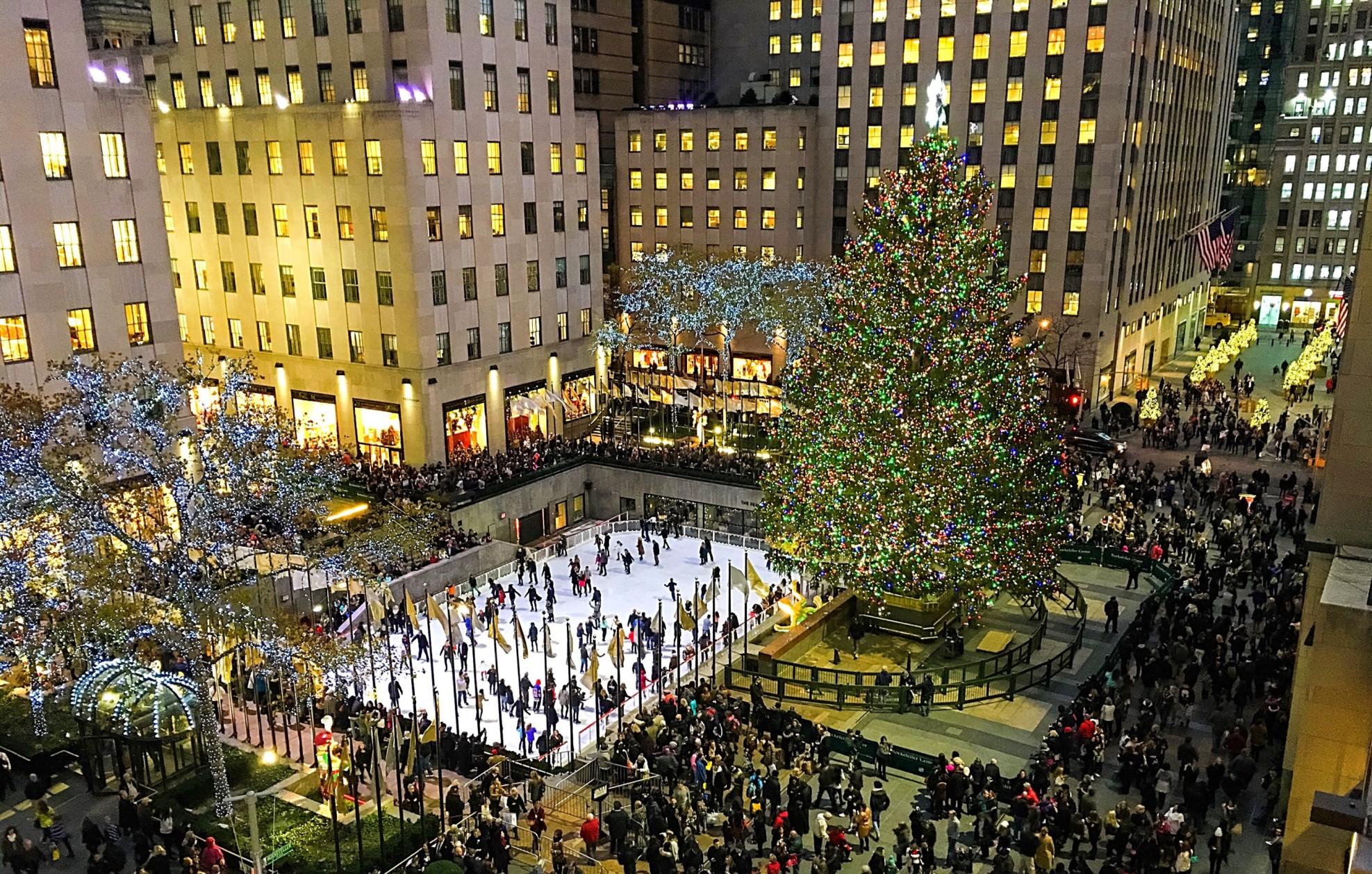 Rockefeller Center Plaza with Christmas Tree