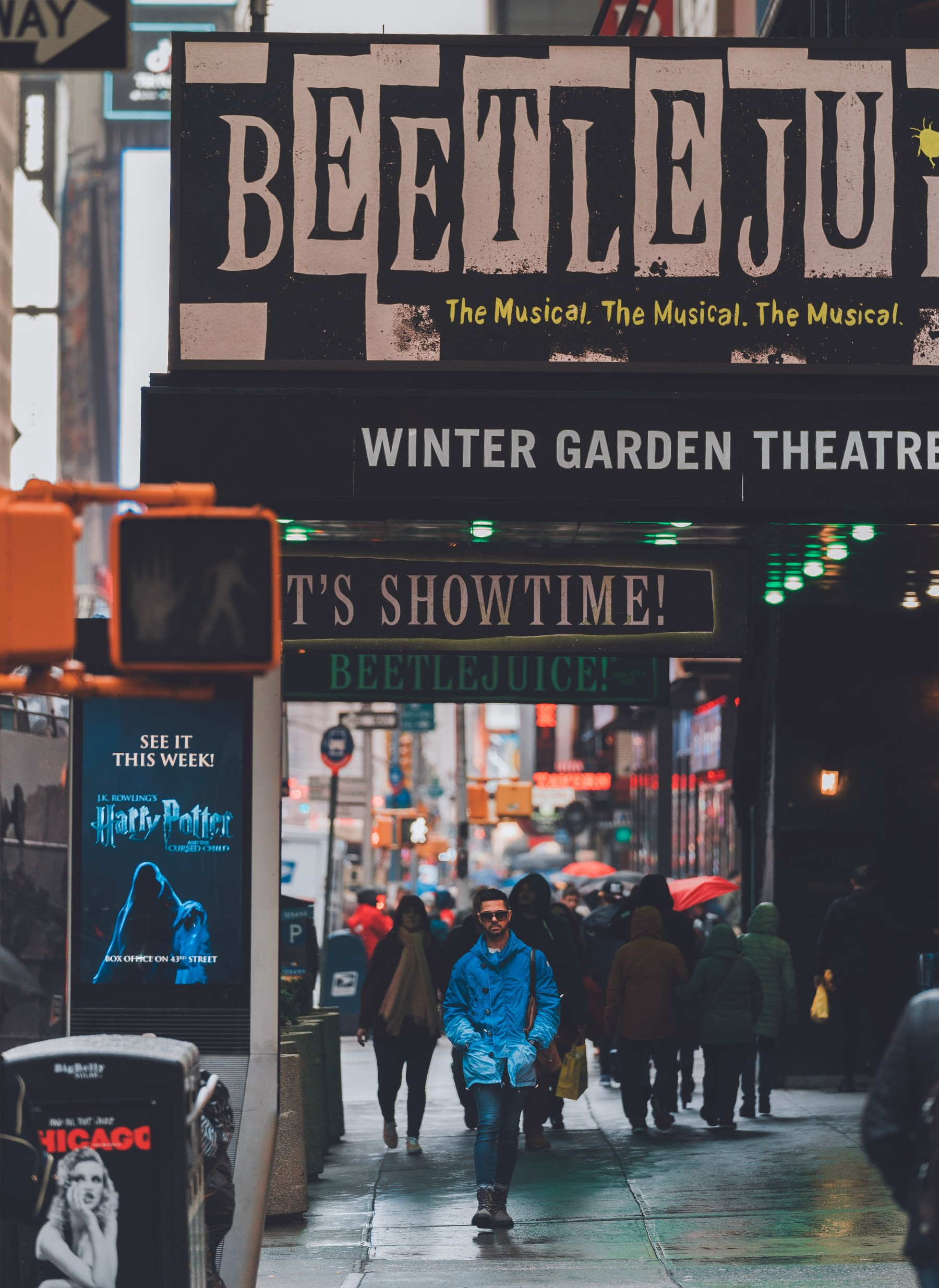The Beetlejuice Marquee on the Winter Garden Theater in Times Square