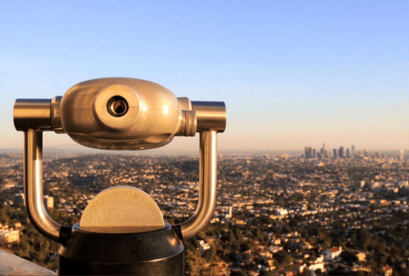 view of LA with telescope