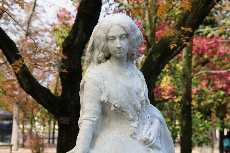 Closeup of George Sand Statue in Luxembourg Gardens