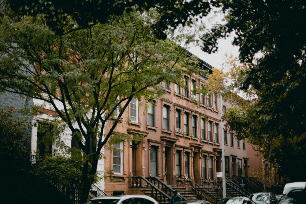 Row houses located in Harlem, NYC