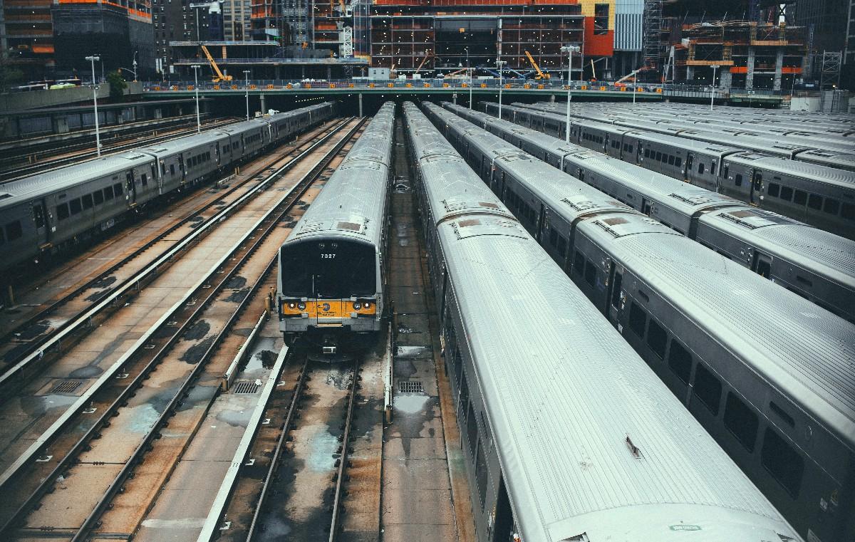 The Long Island Railroad tracks underneath Hudson Yards