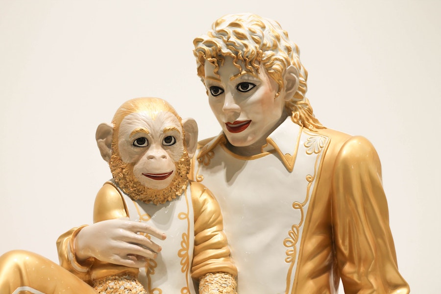 Michael Jackson and chimpanzee sculpture at The Broad