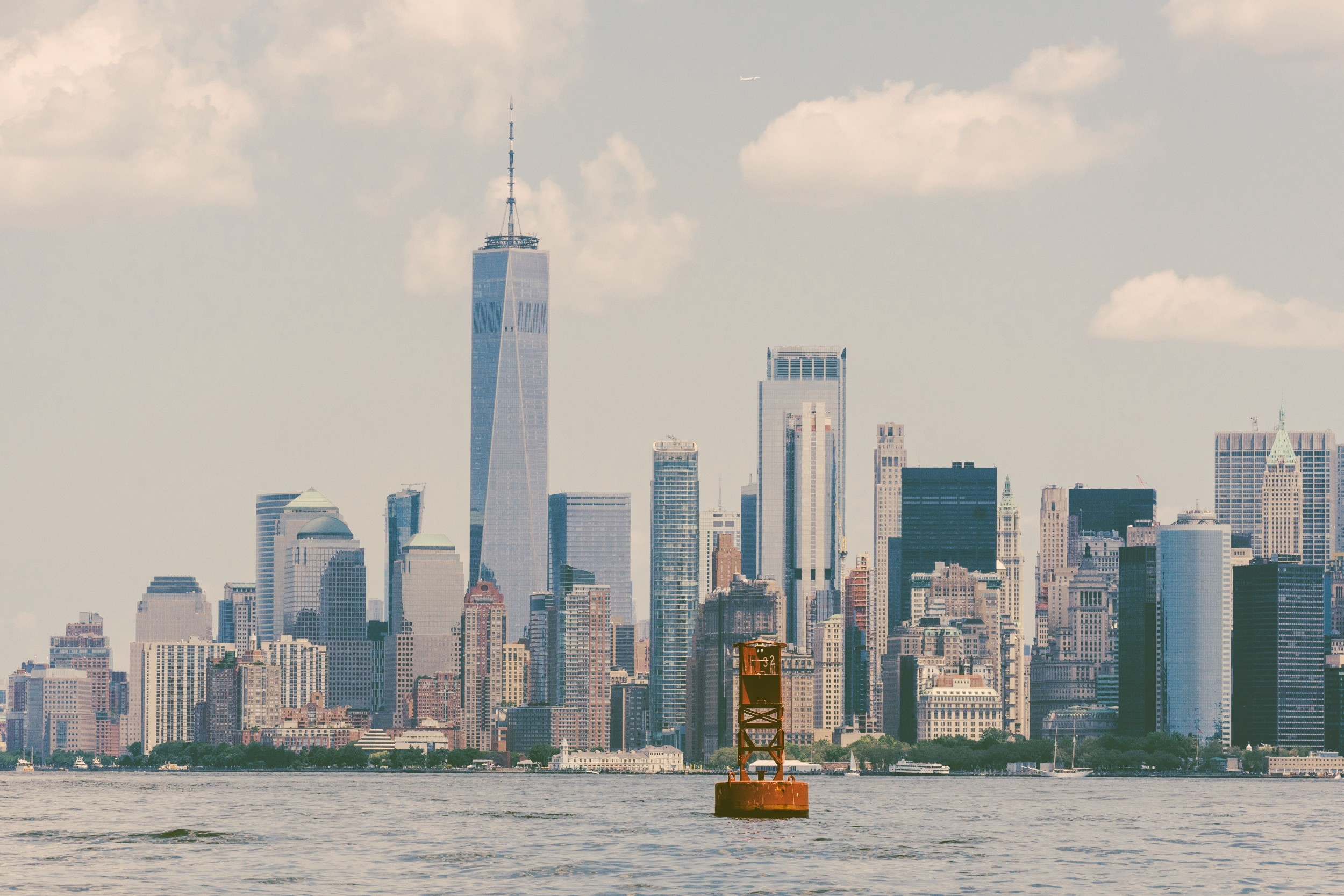 The World Trade Center as seen from New York Harbor
