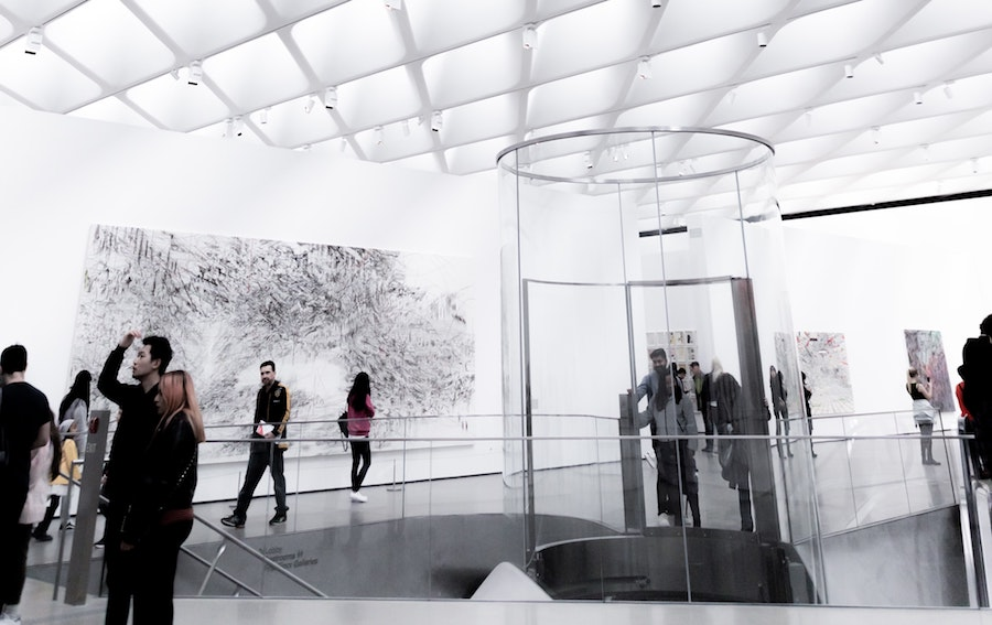 People viewing a contemporary art exhibit at The Broad in Los Angeles