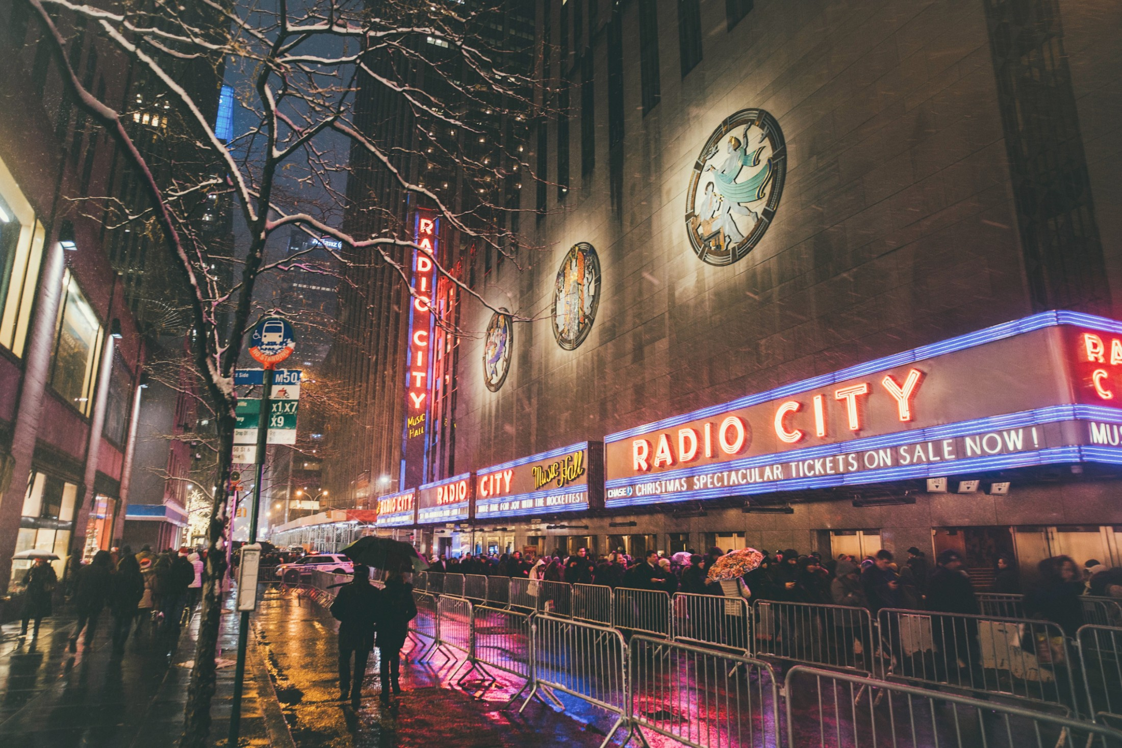The Marquee outside of Radio City Music Hall
