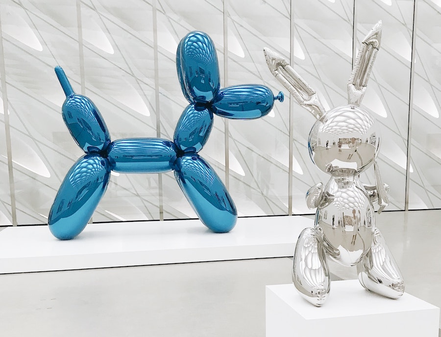 Dog and bunny sculptures at The Broad