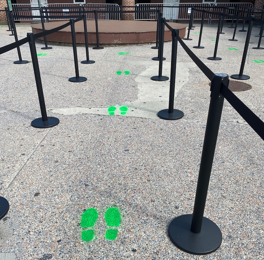 Social distancing footprints for the Statue of Liberty for coronavirus safety