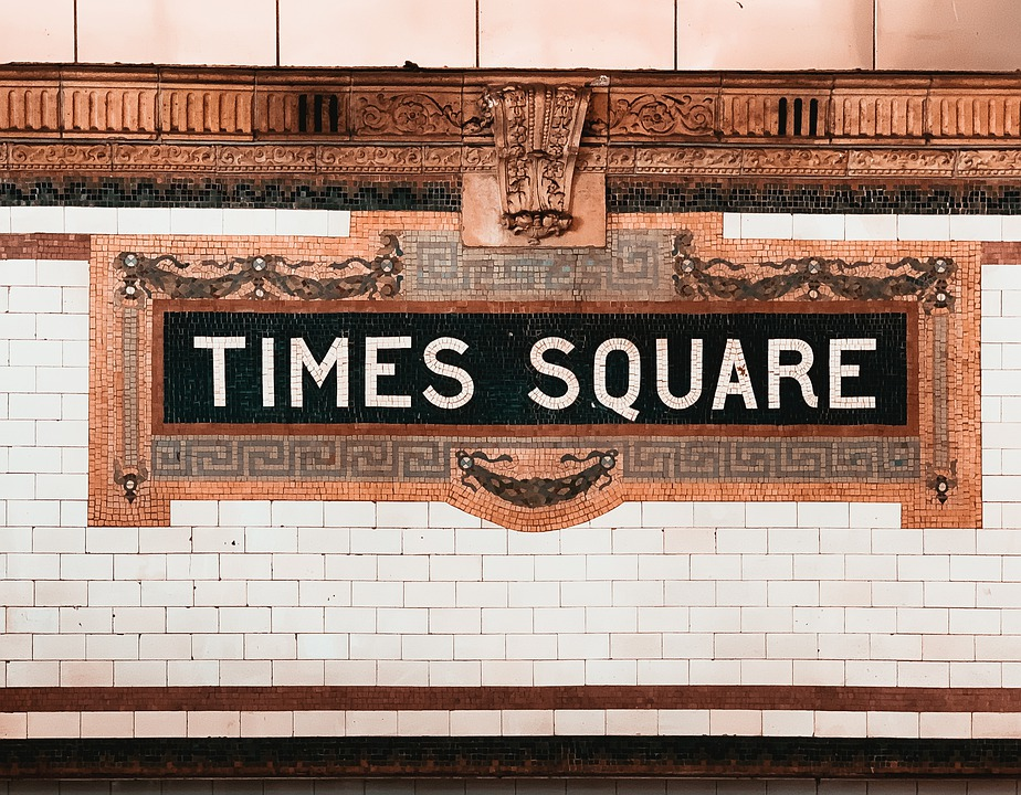 Inside the Times Square subway station