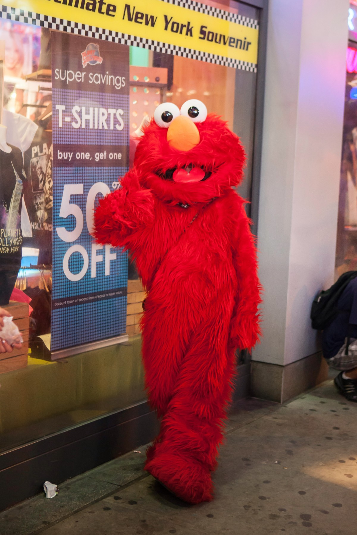 One of the various costumed character in Times Square