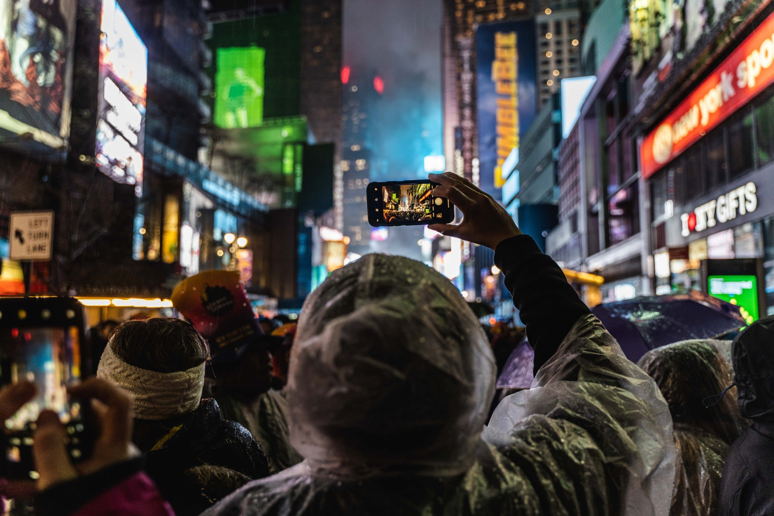 Crowds gather to watch the ball drop in Times Square on New Year's Eve