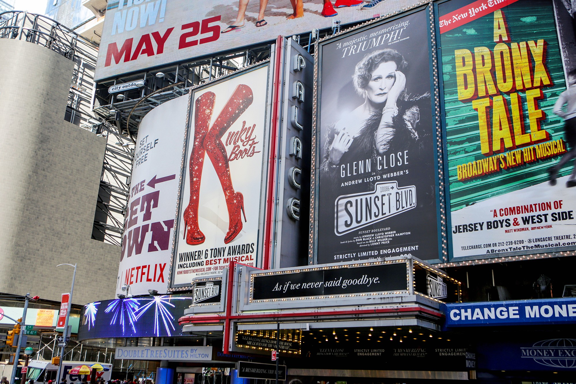 Some Broadway billboards lighting up Times Square