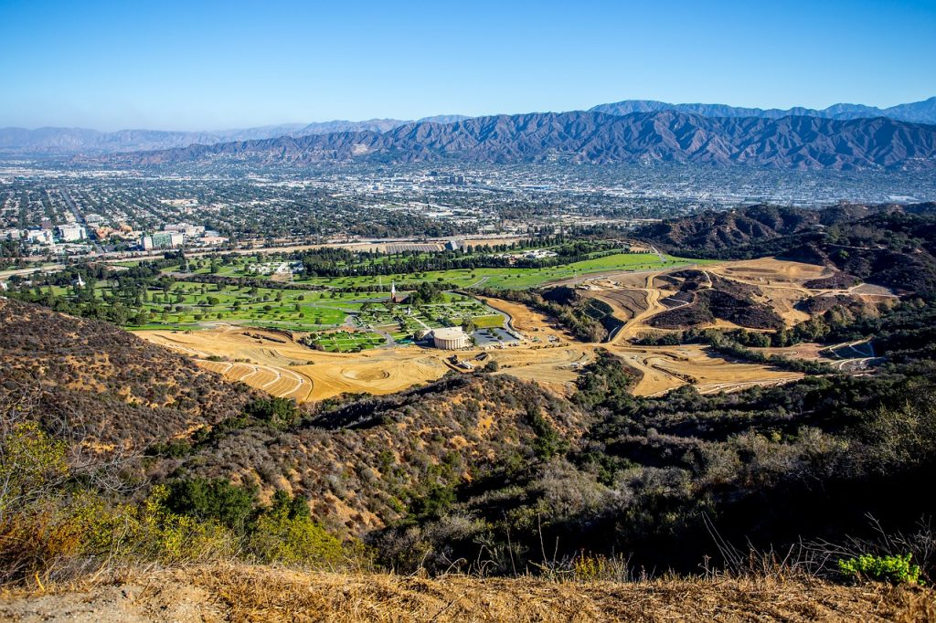 Aerial view of Griffith Park in LA