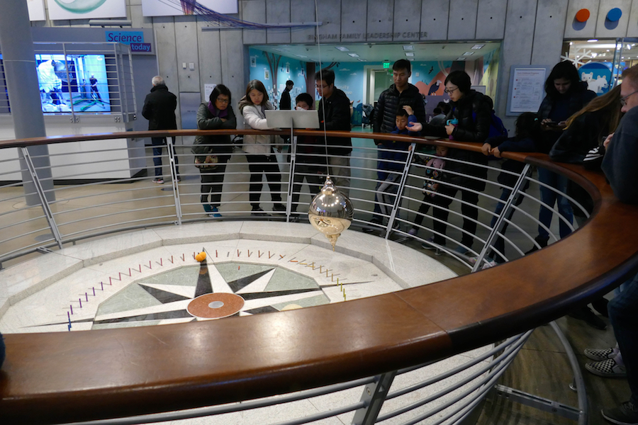 Foucault's pendulum demonstrates the earth's rotation at the California Academy of Sciences