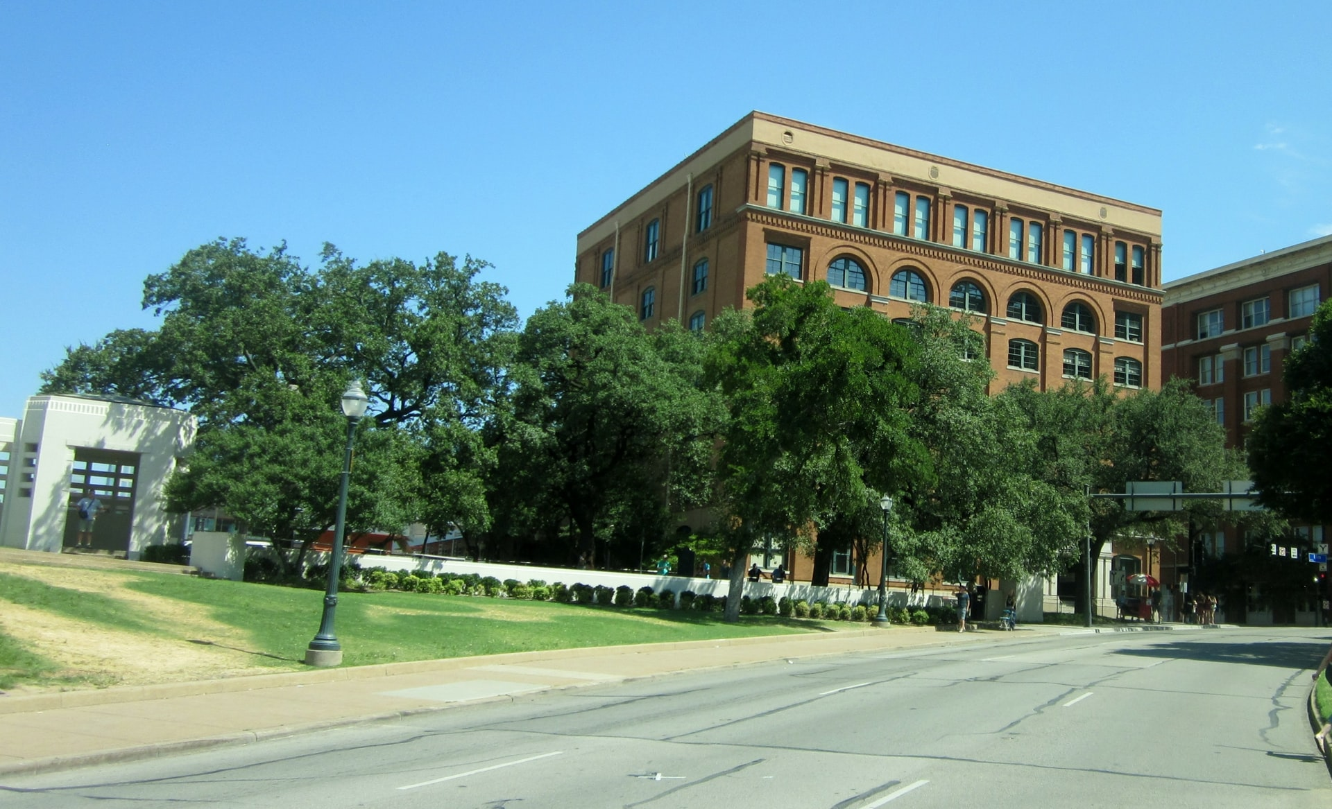 Dealey Plaza view of Sixth Floor Museum Building in Dallas