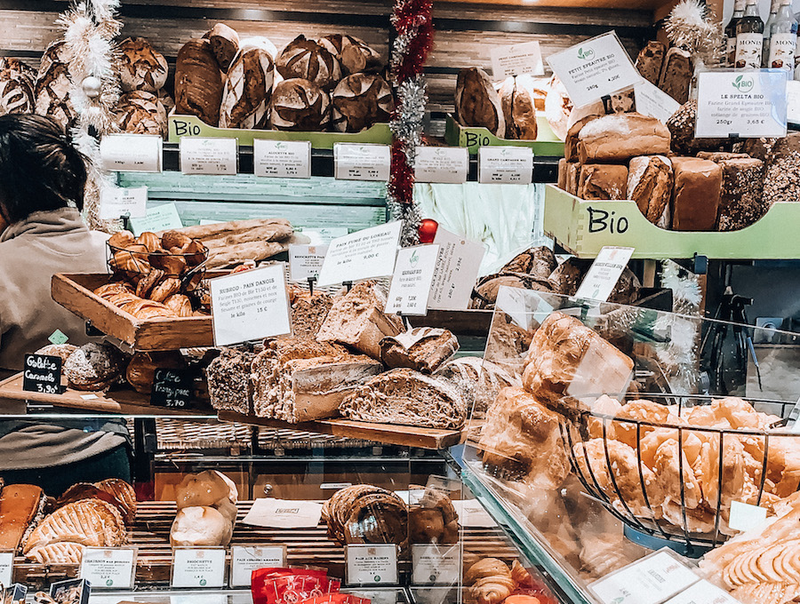 Fresh pastries on display at a patisserie in the Latin Quarter