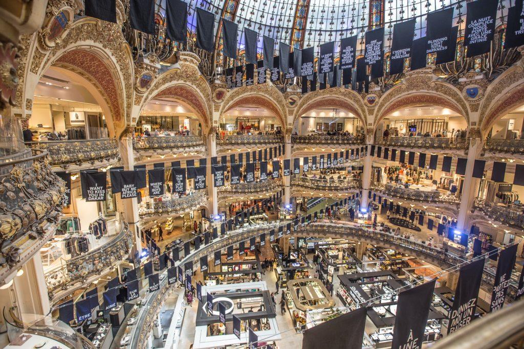 Interior of Galeries Lafayette shown floor by floor