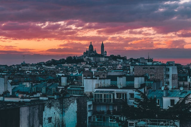 Paris on a hill as shown with Montmartre at dusk