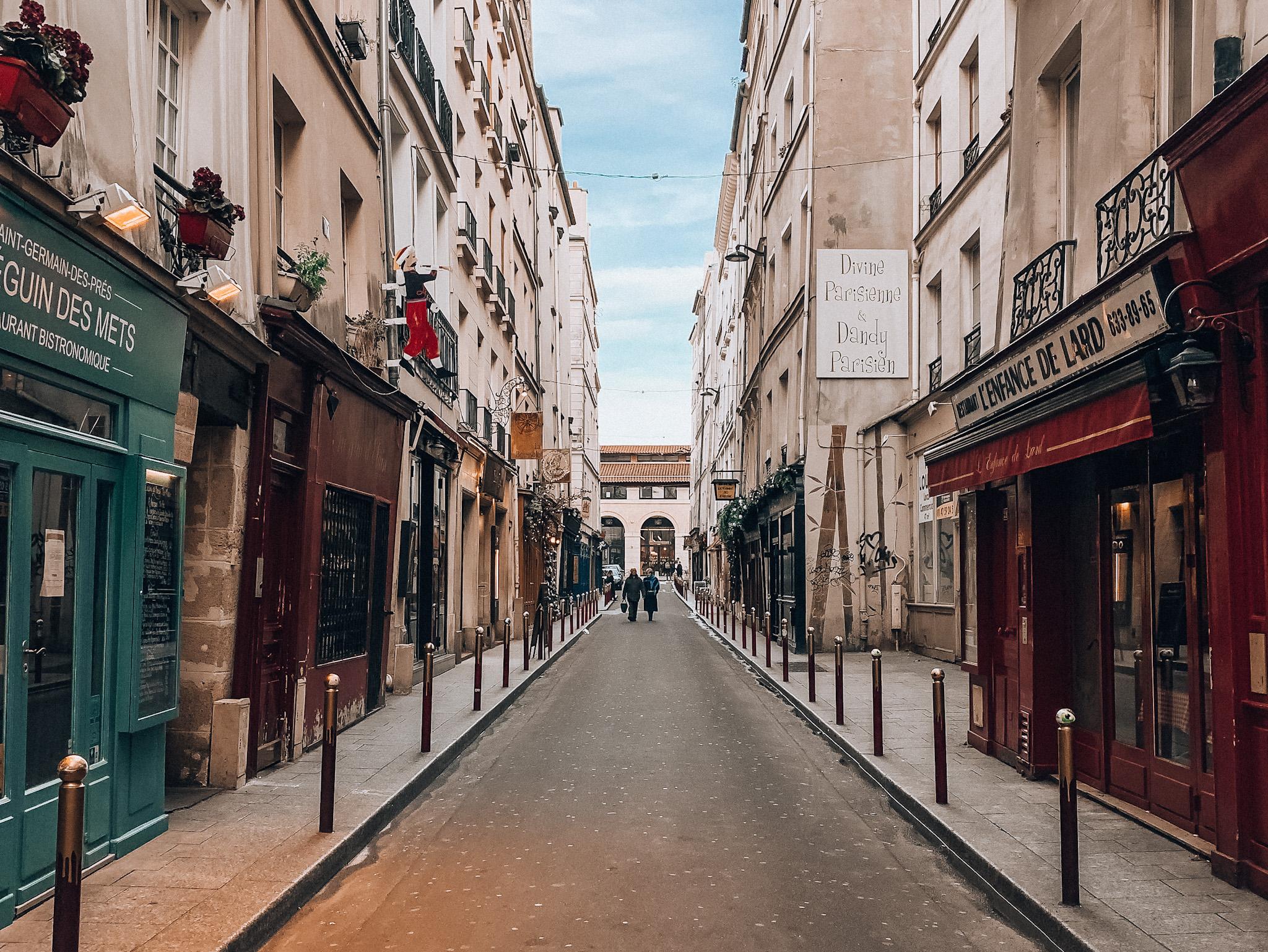Quaint and quiet streets of Saint-Germain-des-Prés around Christmas time
